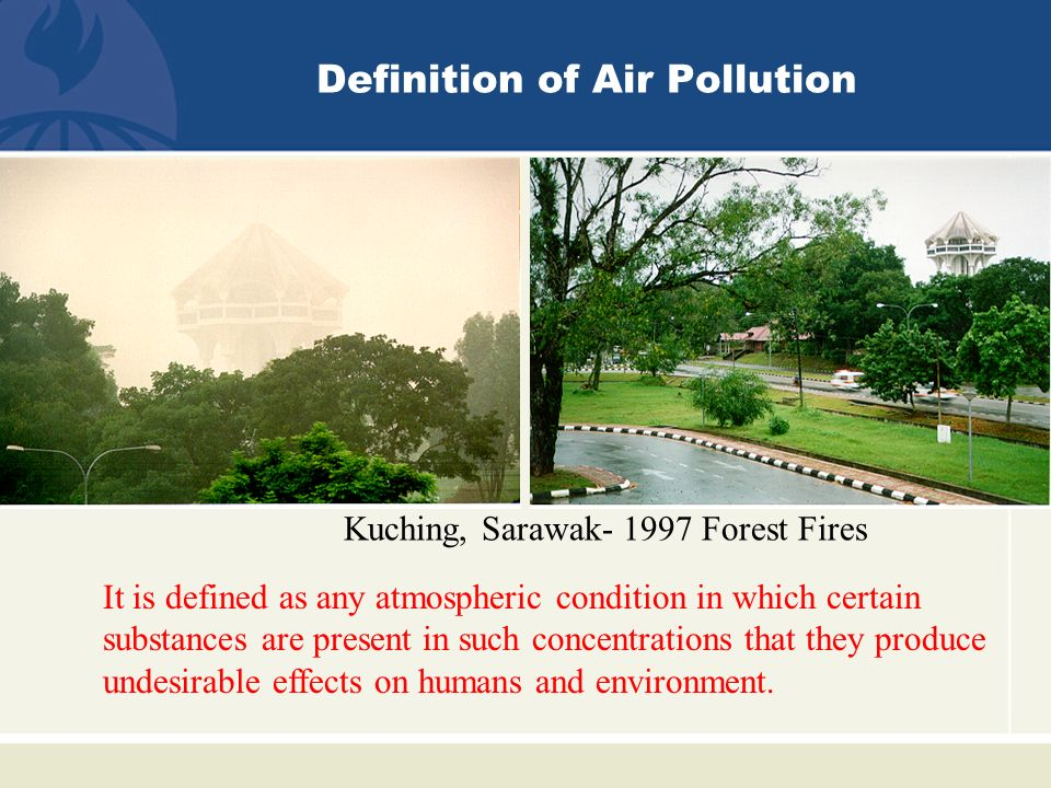 definition of air pollution Air pollution means the existence of pollutants in the atmosphere various pollutants arise from various sources some of the major air pollutants include ozone (arising from chemical reaction between different other pollutants), carbon monoxide (arising from incomplete burning of organic materials), lead.