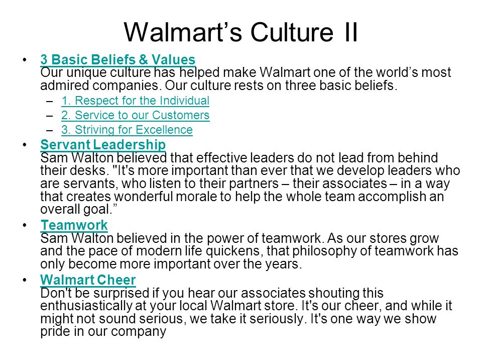 the three basic beliefs of walmart Bentonville, ark, may 23, 2017 – today, walmart announced expansions to its military leave of absence policy, offering differential pay to all eligible military.