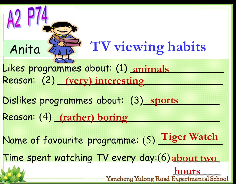 TV viewing habits A2 P74 Anita animals (very) interesting sports