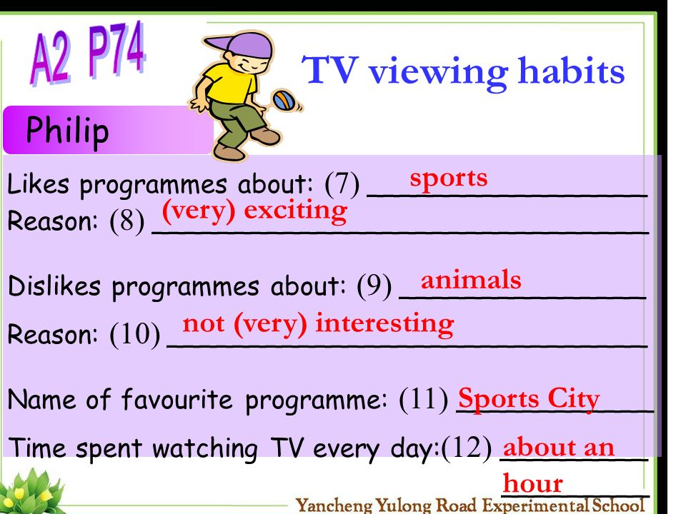 TV viewing habits A2 P74 Philip sports (very) exciting animals