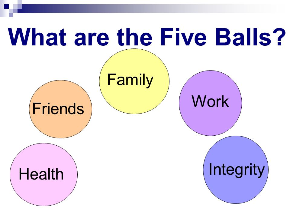 What are the Five Balls Family Work Friends Integrity Health