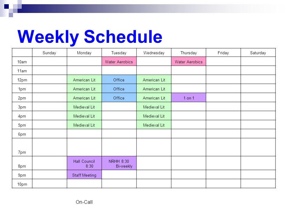 Weekly Schedule On-Call Sunday Monday Tuesday Wednesday Thursday