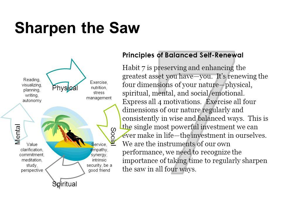7 Sharpen the Saw Principles of Balanced Self-Renewal