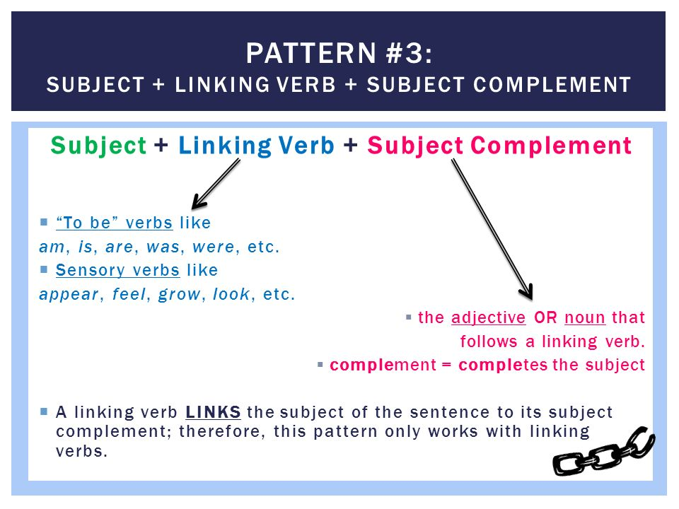 Sentence parts and patterns ppt video online download pattern 3 subject linking verb subject complement ccuart Images
