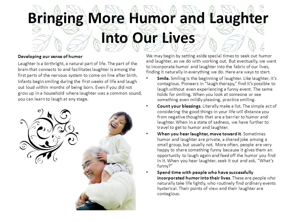 Bringing More Humor and Laughter Into Our Lives