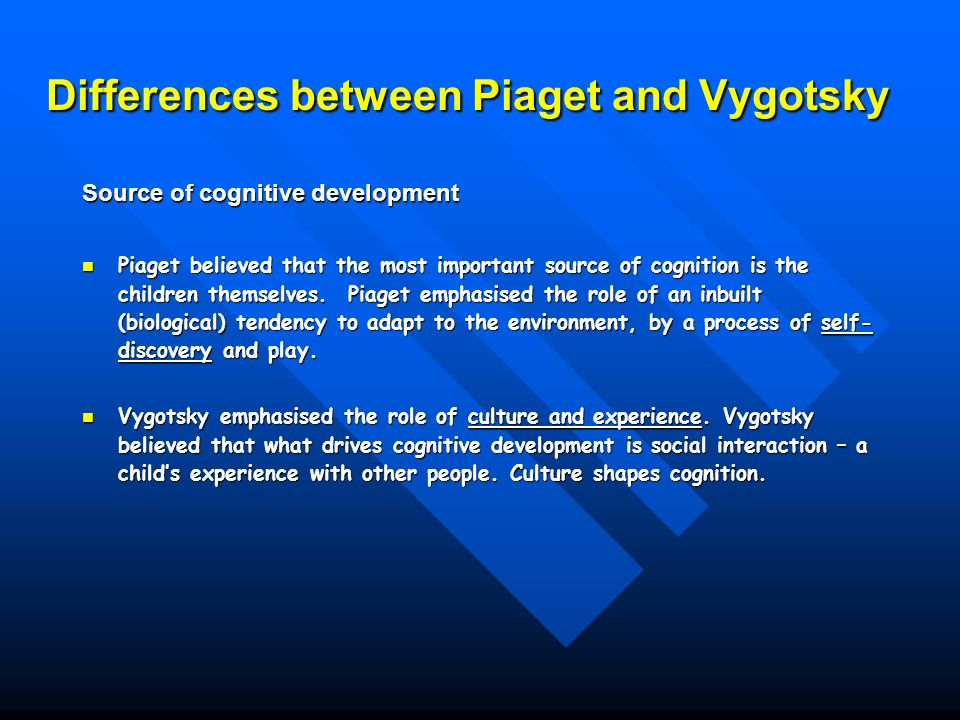 piaget and vigotsky Unavoidably established an unbridgable dualism between the individual and the social for piaget, this dualism led to describe society as the 'social environmenta of.