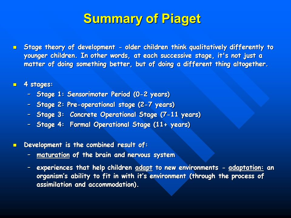 piagets developmental stages essay Swiss psychologist jean piaget (1896-1980) proposed the idea of the four  stages of childhood cognitive development these are age-related stages and  refer to.