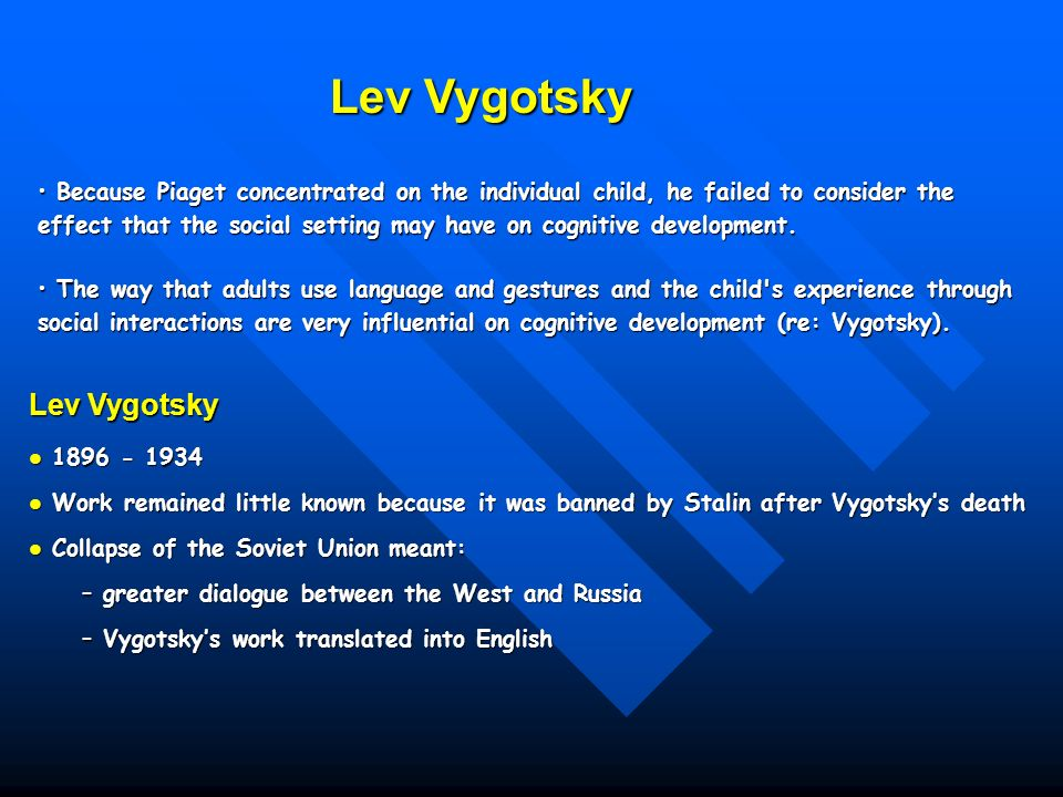 compare and contrast viaget and vygotsky Start studying compare & contrast piaget & vygotsky's theories of cognitive development learn vocabulary, terms, and more with flashcards, games, and other study tools.