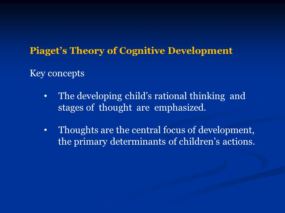 piaget cognitive theory Cognitive development: piaget and vygotsky piaget's theory of cognitive development the evolution of piaget's thinking beginning in the early 1960s.