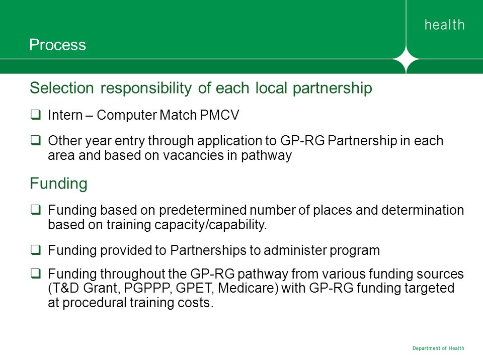 Selection responsibility of each local partnership