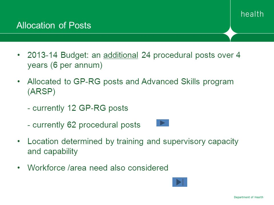 Allocation of Posts Budget: an additional 24 procedural posts over 4 years (6 per annum)