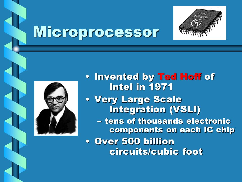 Microprocessor Invented by Ted Hoff of Intel in 1971