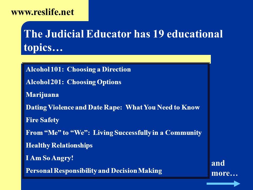 The Judicial Educator has 19 educational topics…