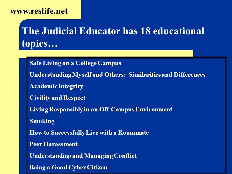 The Judicial Educator has 18 educational topics…