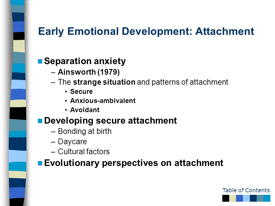 an analysis of the development of attachment and the factors which create a secure attachment Attachment theory is centered on the emotional bonds between people and suggests that our earliest factors that influence attachment secure attachment.