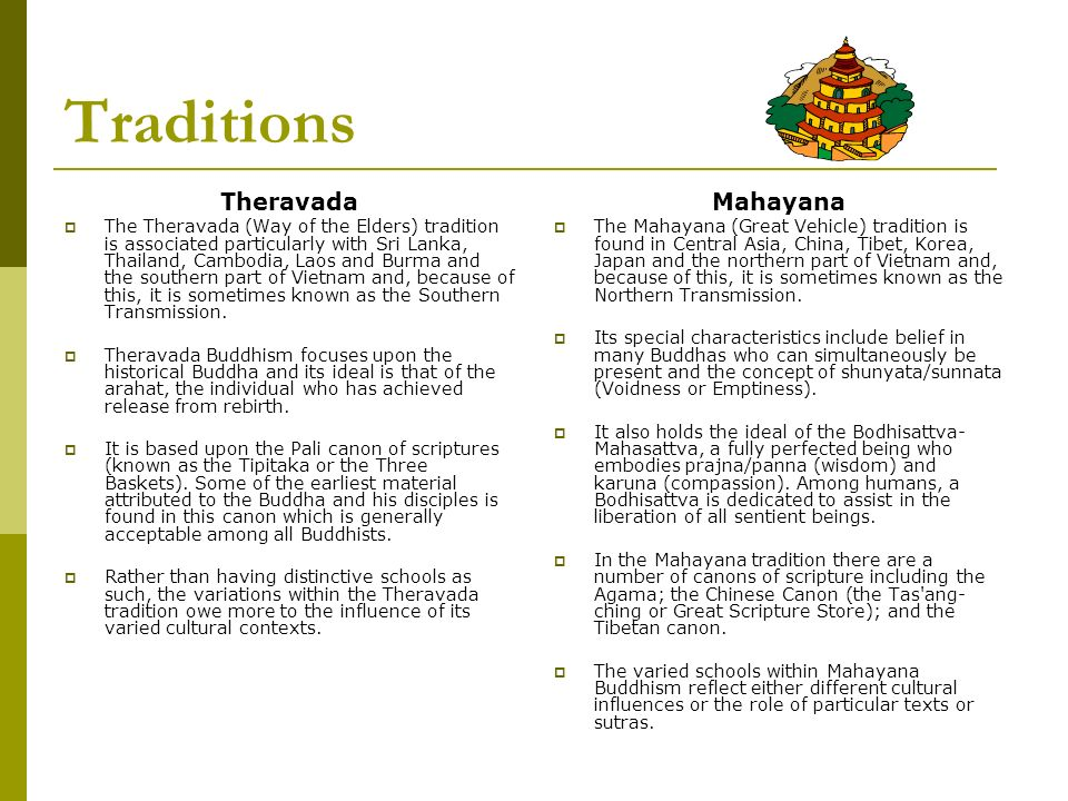 Traditions Theravada Mahayana