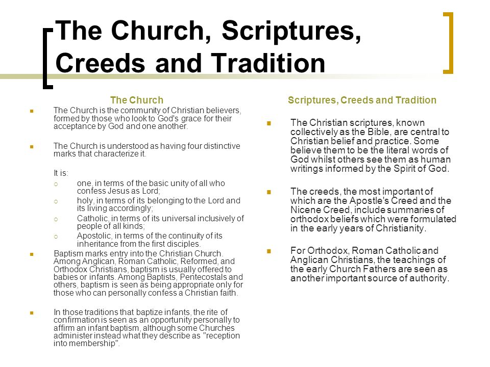The Church, Scriptures, Creeds and Tradition