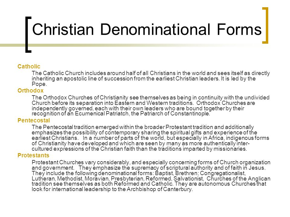 Christian Denominational Forms
