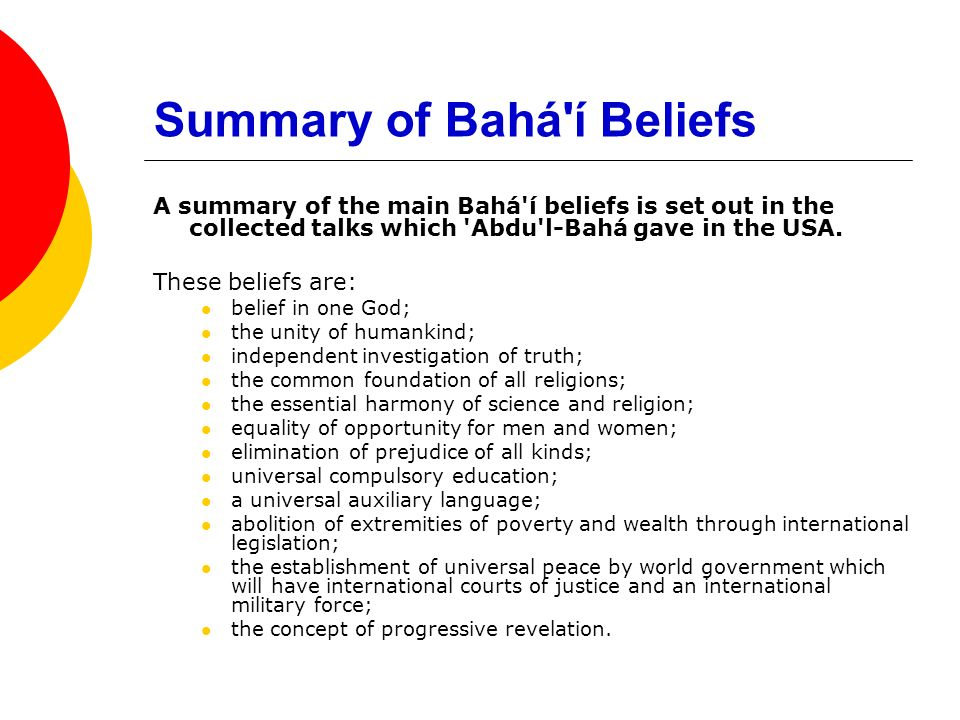 Summary of Bahá í Beliefs