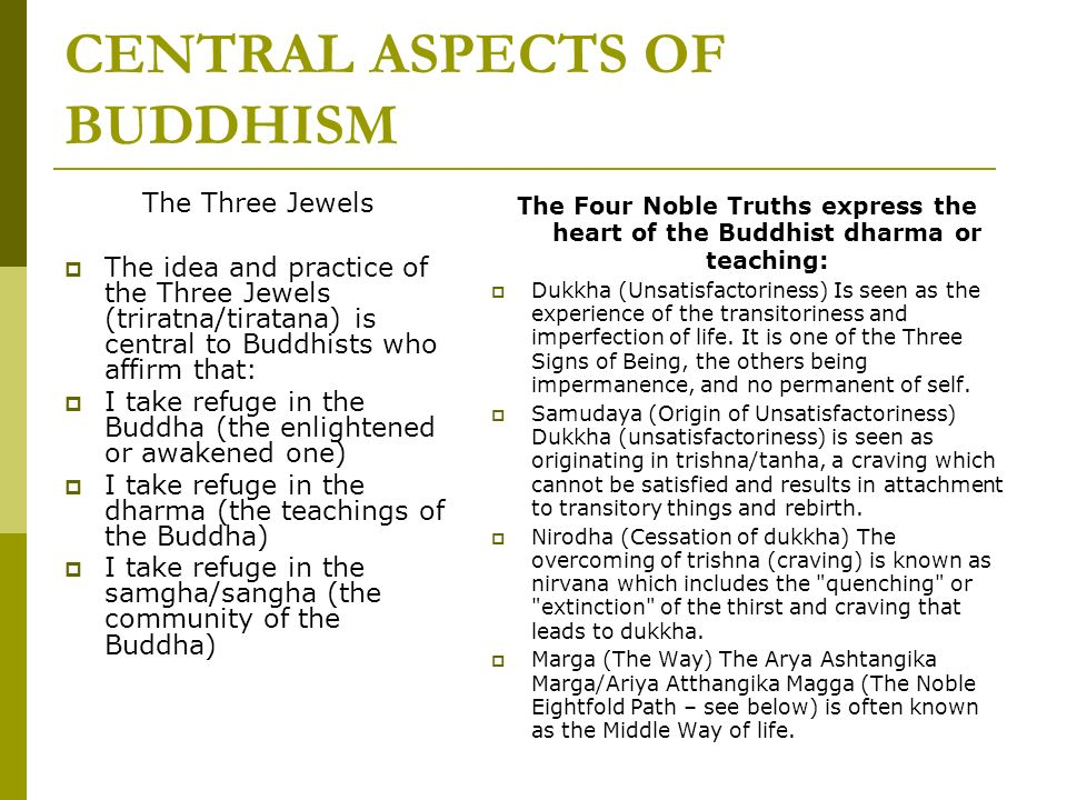 CENTRAL ASPECTS OF BUDDHISM