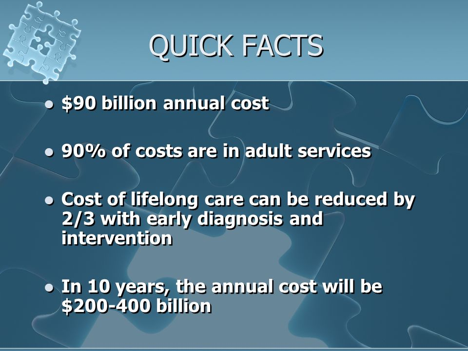 QUICK FACTS $90 billion annual cost 90% of costs are in adult services