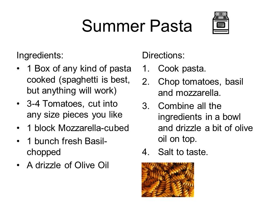 Summer Pasta Ingredients: