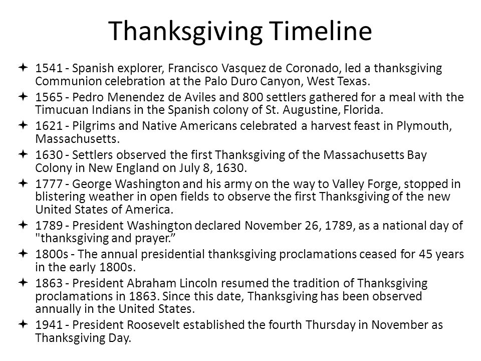 Thanksgiving Timeline