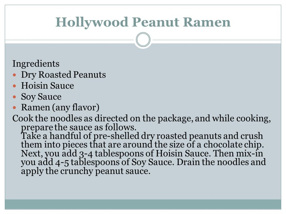 Hollywood Peanut Ramen