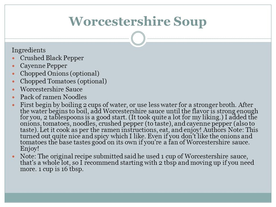 Worcestershire Soup Ingredients Crushed Black Pepper Cayenne Pepper