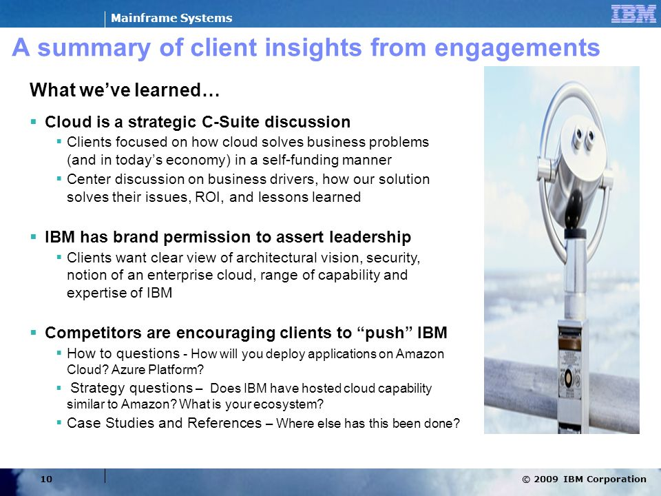 A summary of client insights from engagements