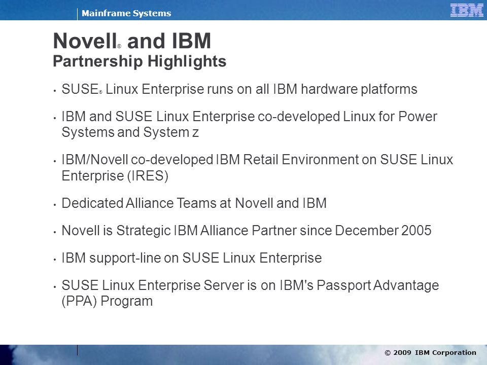Novell® and IBM Partnership Highlights