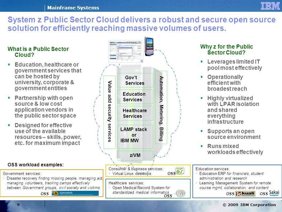 System z Public Sector Cloud delivers a robust and secure open source solution for efficiently reaching massive volumes of users.