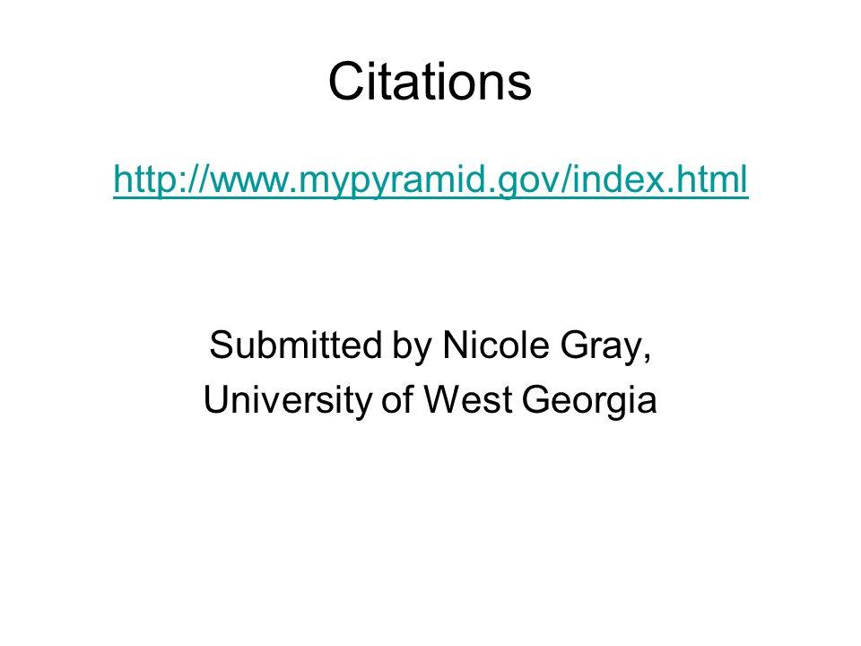 Citations http://www.mypyramid.gov/index.html