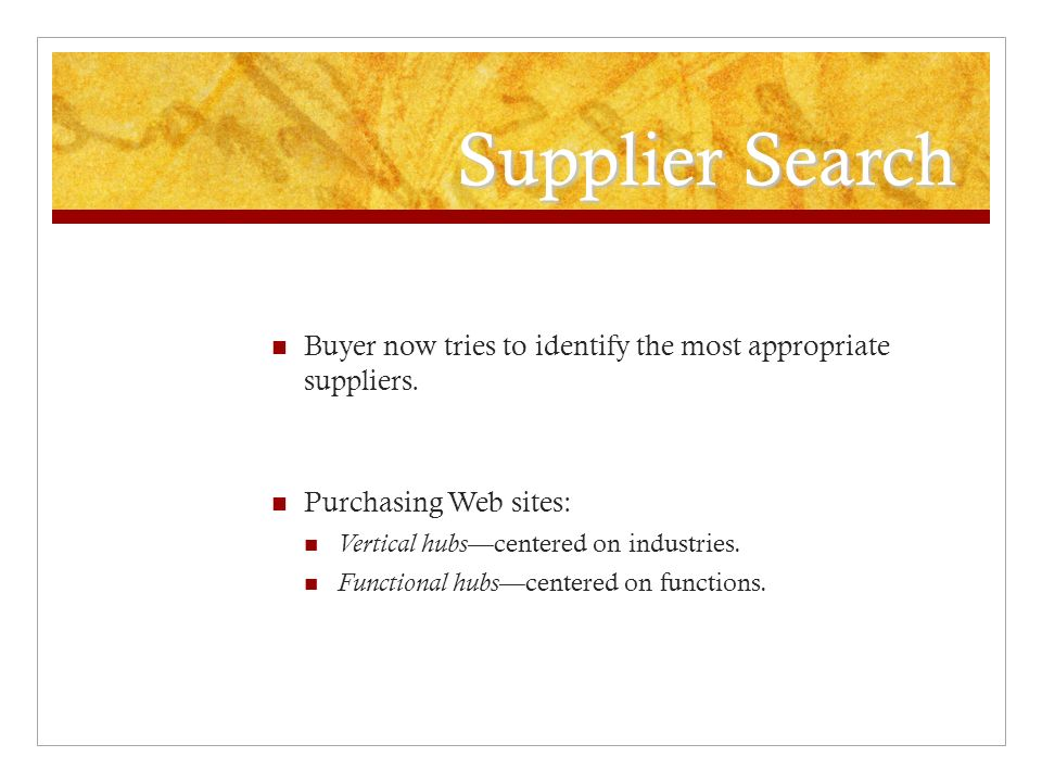 Supplier Search Buyer now tries to identify the most appropriate suppliers. Purchasing Web sites: