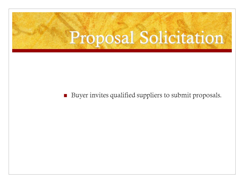 Proposal Solicitation