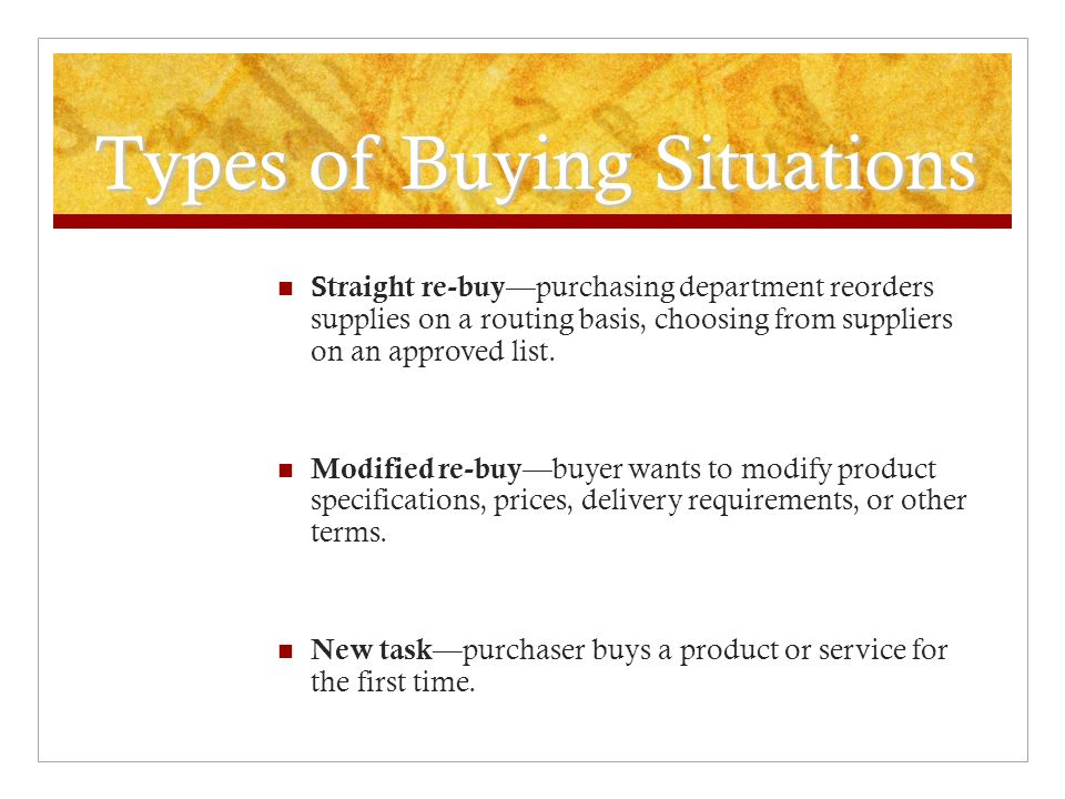 Types of Buying Situations
