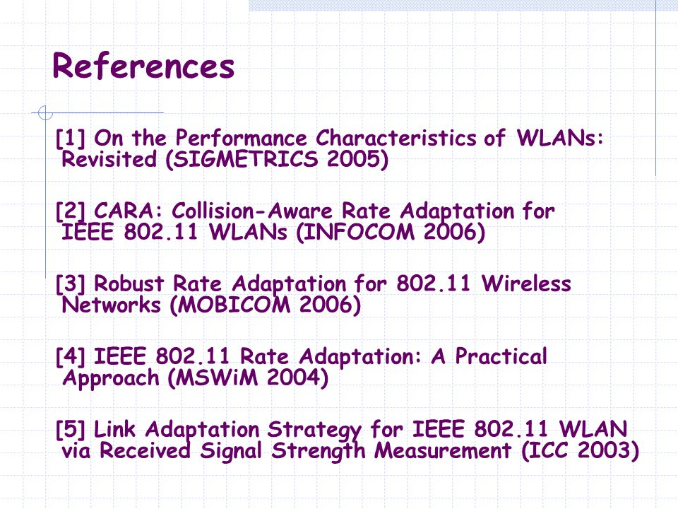 References [1] On the Performance Characteristics of WLANs: Revisited (SIGMETRICS 2005)