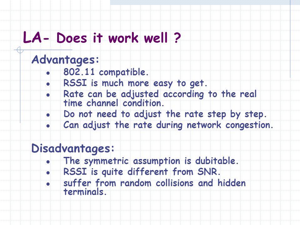 LA- Does it work well Advantages: Disadvantages: 802.11 compatible.