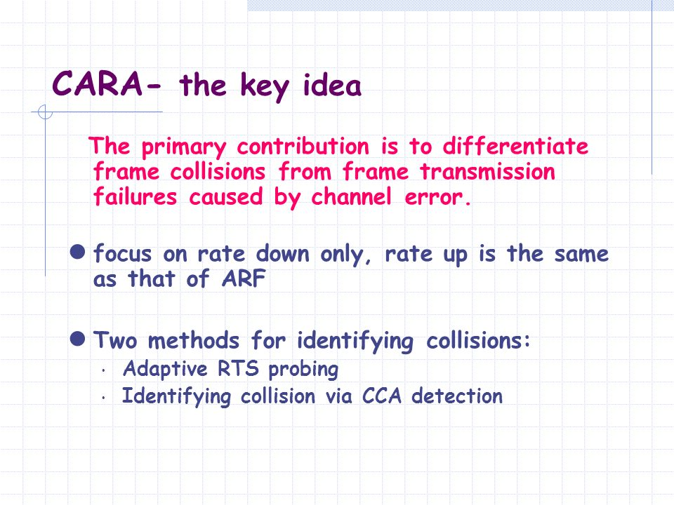 CARA- the key idea The primary contribution is to differentiate frame collisions from frame transmission failures caused by channel error.