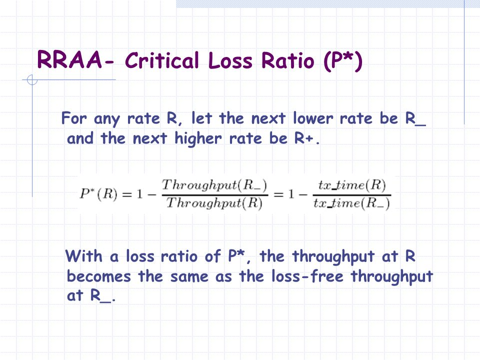 RRAA- Critical Loss Ratio (P*)
