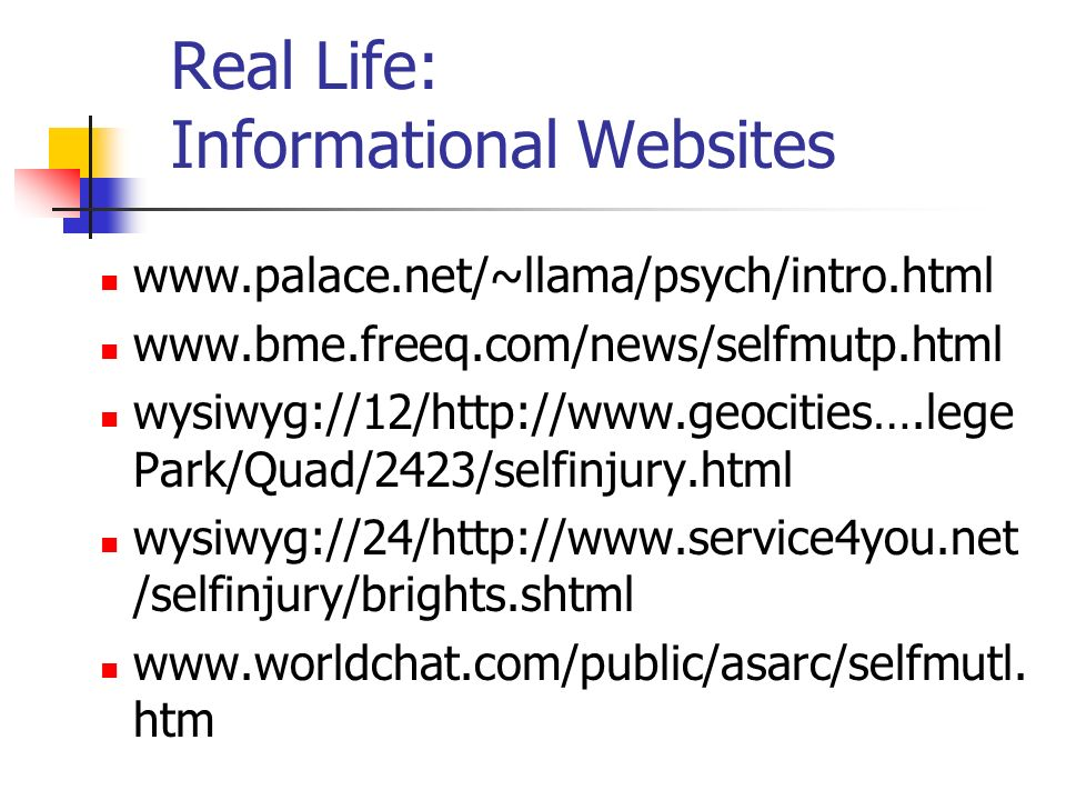 Real Life: Informational Websites