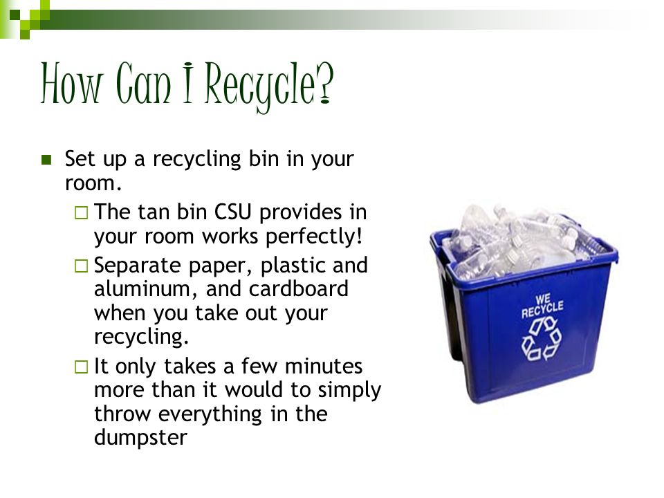 How Can I Recycle Set up a recycling bin in your room.