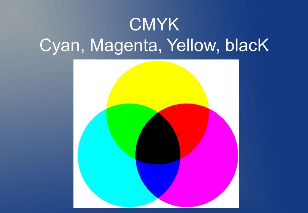 CMYK Cyan, Magenta, Yellow, blacK
