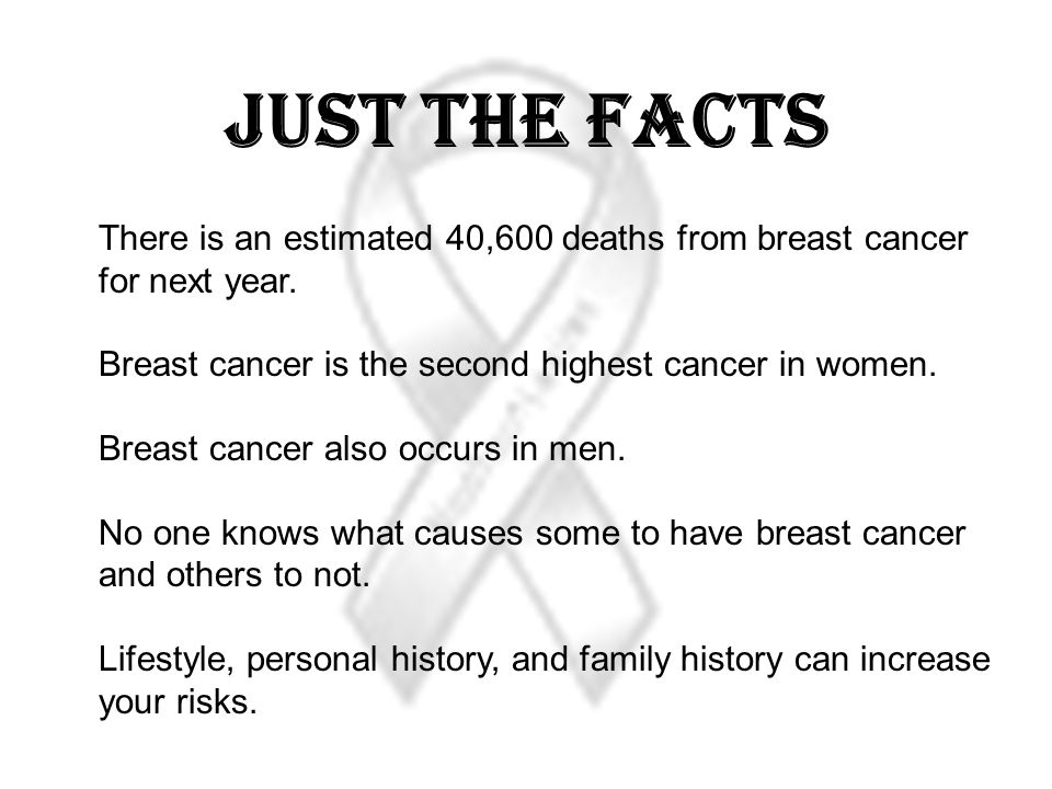 Just The Facts There is an estimated 40,600 deaths from breast cancer for next year. Breast cancer is the second highest cancer in women.