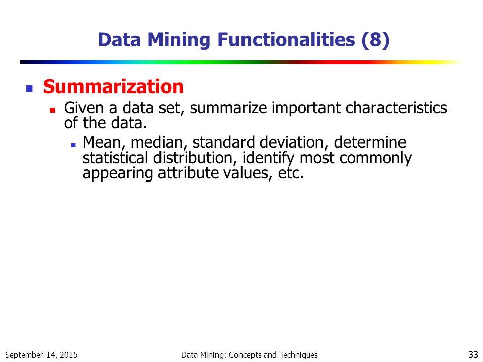 Data Mining Functionalities || Data Characterization ...