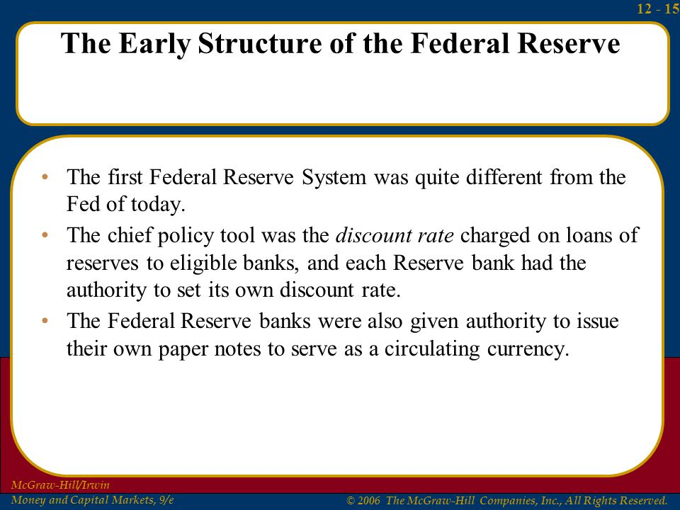 structure of the federal reserve system and banks The federal reserve is the central bank system of the united  and 12 independent regional reserve banks this decentralized structure ensures that the.