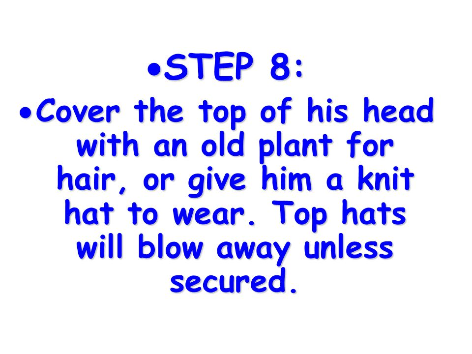 STEP 8: Cover the top of his head with an old plant for hair, or give him a knit hat to wear.