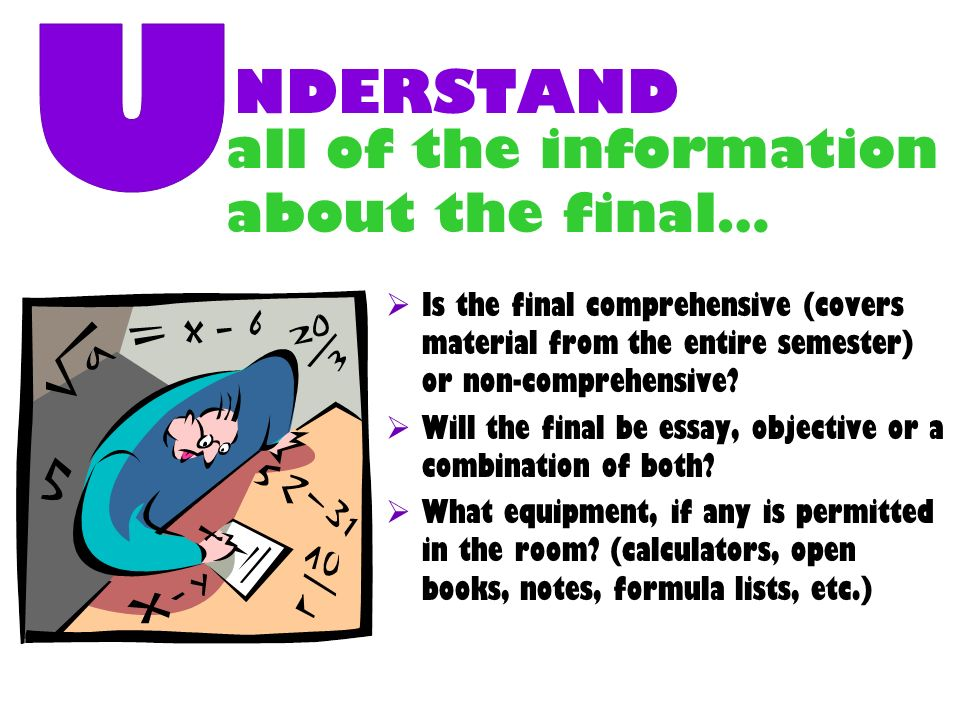 NDERSTAND all of the information about the final… U