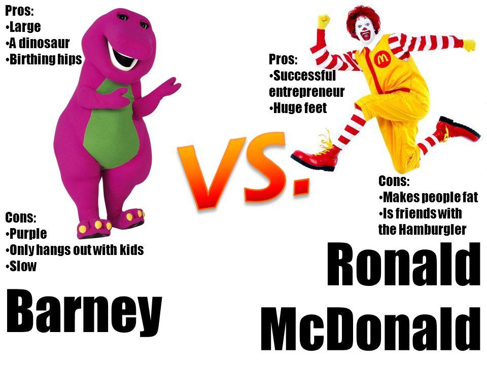 VS. Ronald McDonald Barney Pros: Large A dinosaur Birthing hips Pros: