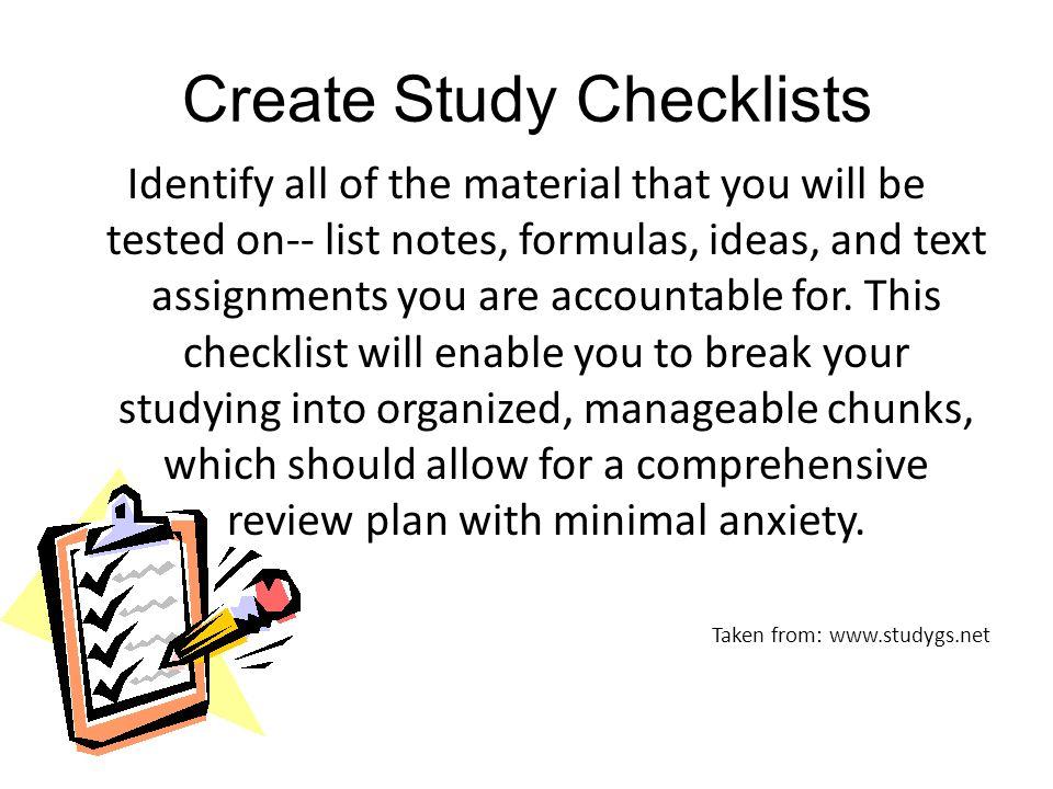 Create Study Checklists